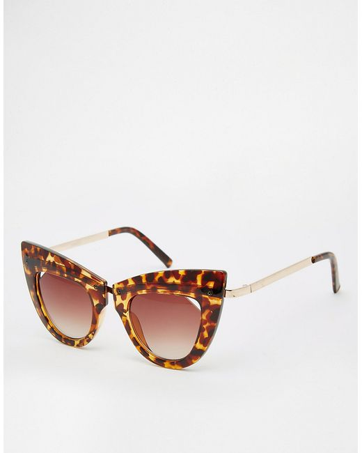asos highbrow cat eye sunglasses with metal nose bridge