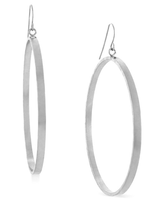 BCBGeneration   Metallic Silver-tone Round Hoop Drop Earrings   Lyst