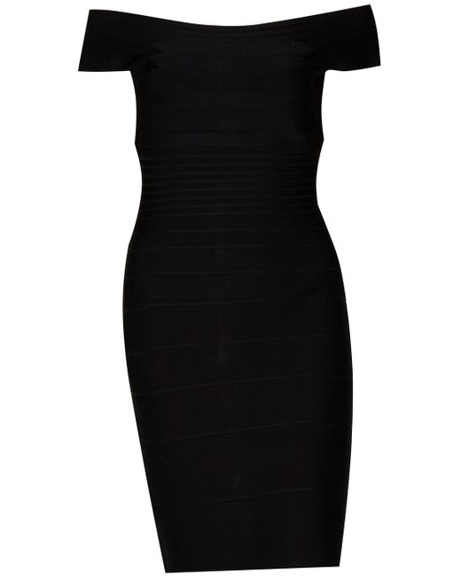 Hervé Léger | Black Off-the-shoulder Long-sleeve Bandage Dress | Lyst
