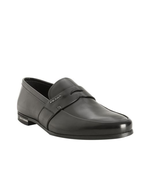 Prada | Black Shined Leather Penny Loafers for Men | Lyst