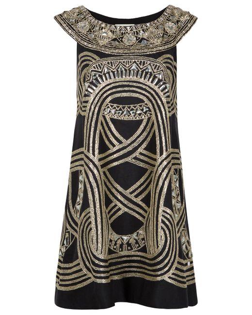 Marchesa | Black Embellished Trapeze Dress | Lyst
