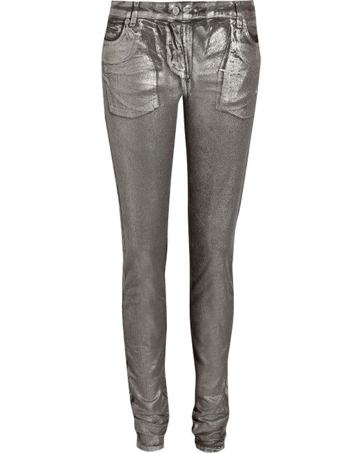 Roberto Cavalli | Silver Metallic Effect Skinny Jeans | Lyst