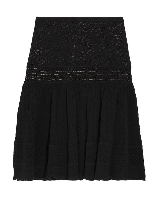 Catherine Malandrino | Black Pointelle Drop-waist Skirt | Lyst