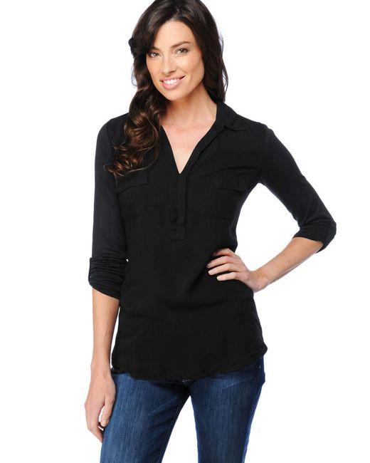 Splendid | Black Drapey Lux Shirred Back Top | Lyst