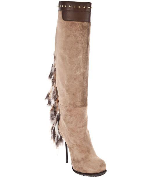 Gianmarco Lorenzi   Natural Long Boot with Fur Tassel   Lyst