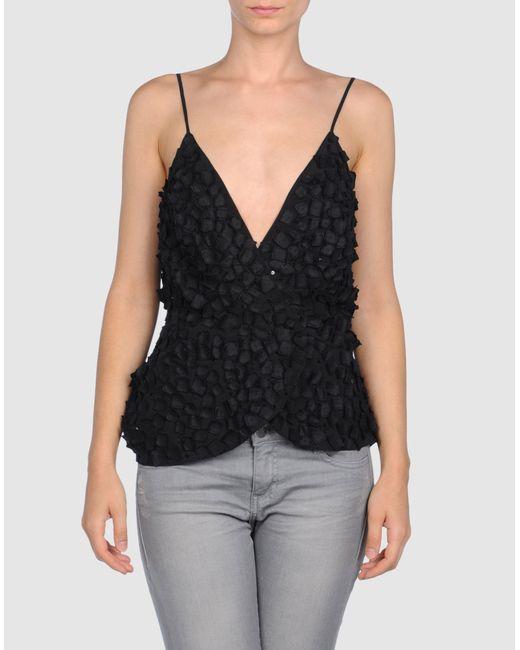 Diane von Furstenberg | Black Margarit Silk Lace-trim Top | Lyst