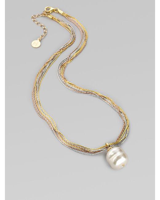 Majorica   16mm White Baroque Pearl Multi-chain Pendant Necklace   Lyst