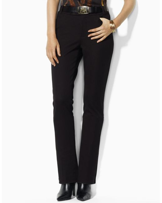 Ralph Lauren | Black Stretch-cotton Straight Pant | Lyst