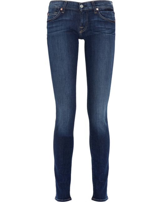 7 For All Mankind | Blue Roxanne Low-rise Skinny Jeans | Lyst