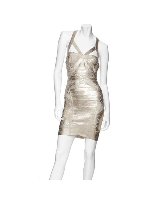 Hervé Léger | Crisscross Metallic Bandage Dress | Lyst