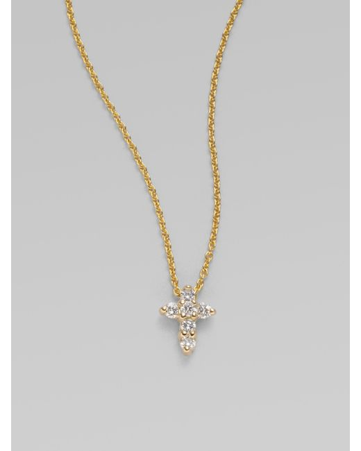 Roberto Coin | Metallic Tiny Treasures Diamond & 18k Yellow Gold Mini Cross Pendant | Lyst