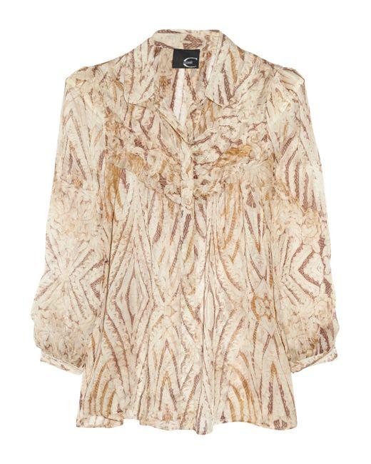 Just Cavalli | Brown Printed Silk-chiffon Blouse | Lyst
