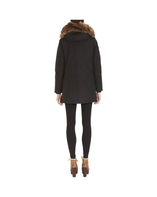 Woolrich   Black Down Coat With Fur-trimmed Hood - Grey   Lyst