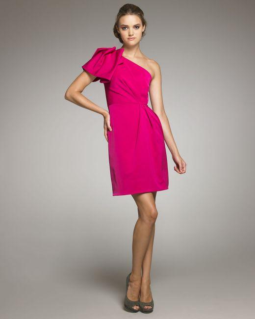 Lela Rose | Pink Gathered One-shoulder Dress | Lyst
