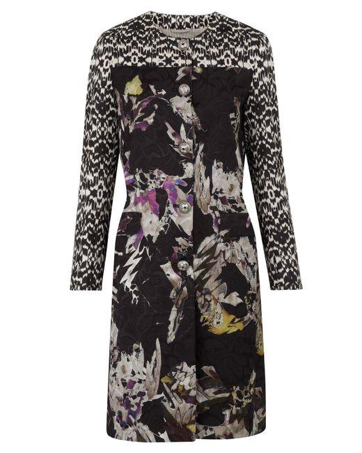 Etro | Black Floral Jacquard Trapeze Coat | Lyst