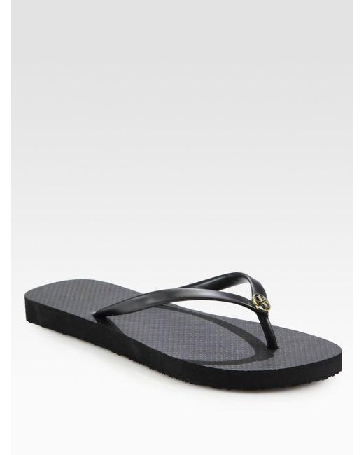 Tory Burch | Black Logo Thong Flip Flops | Lyst