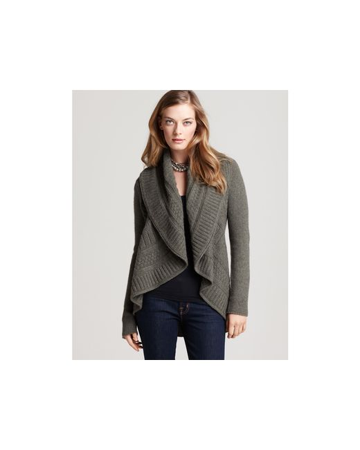 Ash | Gray Quotation: Autumn Cashmere Cable Shawl Collar Drape Cardigan | Lyst