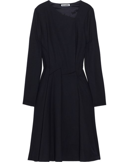 Jil Sander | Black Wool-crepe Dress | Lyst