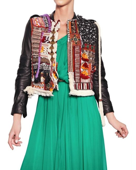 DSquared² | Multicolor Embroidered Hippy Style Leather Jacket | Lyst
