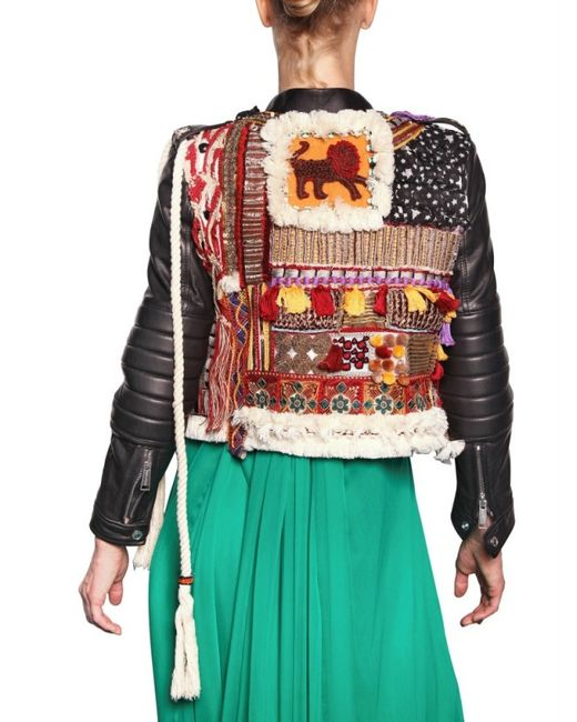 Dsquared 178 Embroidered Hippy Style Leather Jacket In