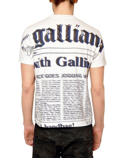 John Galliano | White Gazette Jersey T-shirt for Men | Lyst