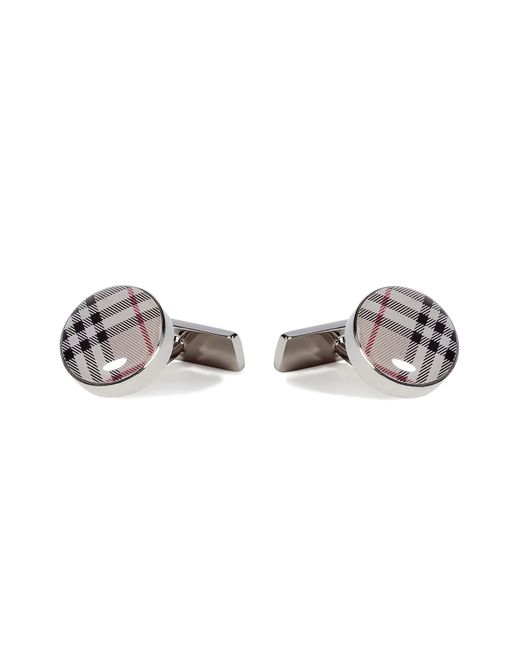 Burberry   Natural Trench Check Round Cuff Links for Men   Lyst