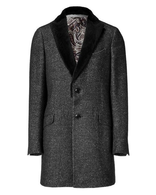 Etro | Black Graphic-pattern Jacquard Overcoat for Men | Lyst