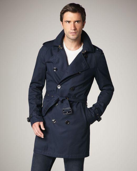 Burberry Brit   Blue Cotton-blend Trenchcoat for Men   Lyst
