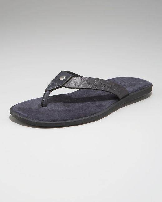 Ferragamo   Gray Dorval Gancini Thong Sandal for Men   Lyst