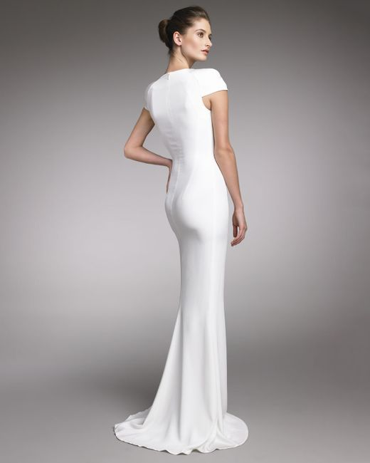 Alexander McQueen | White Fitted Cap-Sleeve Gown, Natural | Lyst