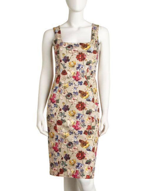 Dolce & Gabbana | Multicolor Floralprint Sheath Dress | Lyst