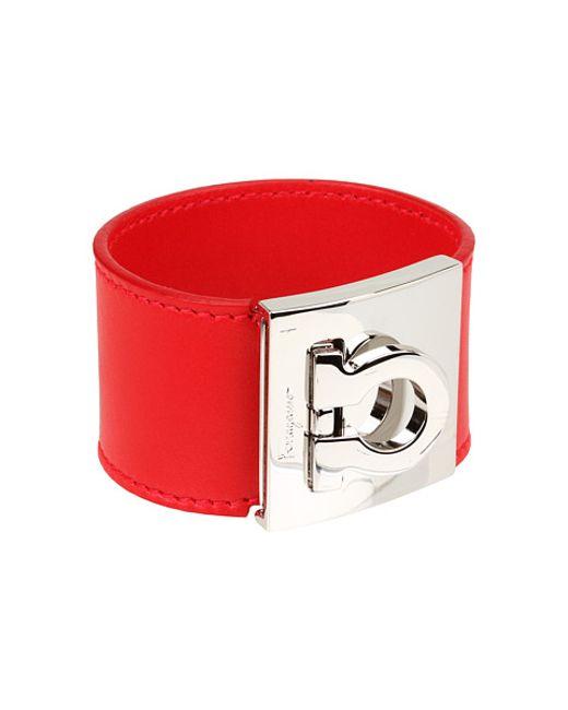 Ferragamo | Red Gancini Cuff Bracelet | Lyst