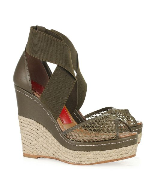 Paloma Barceló   Green Amalaga Mesh and Leather Espadrille Wedges   Lyst