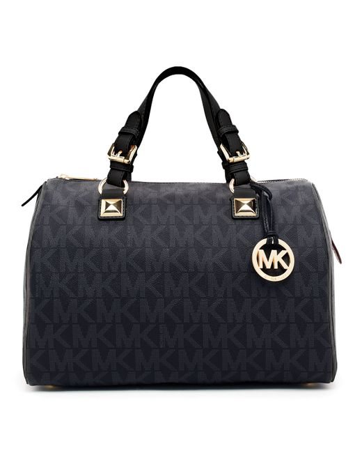 michael michael kors grayson large logo satchel bag in. Black Bedroom Furniture Sets. Home Design Ideas
