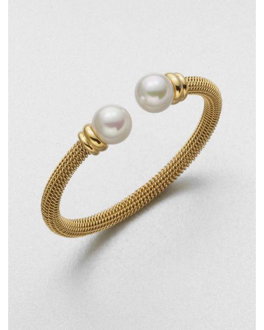 Majorica | Metallic Pearl-cap Bangle | Lyst