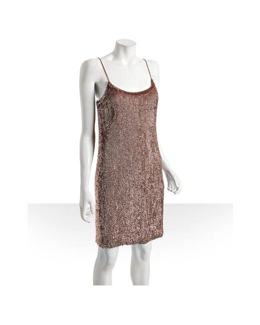 THEIA   Pink Rose Gold Silk Sequin Spaghetti Strap Dress   Lyst