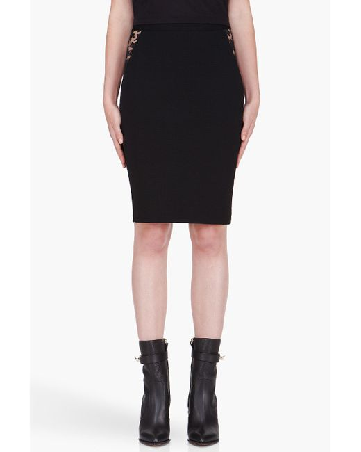 Givenchy | Black Zip Front Ruffle Detail Viscose Skirt | Lyst