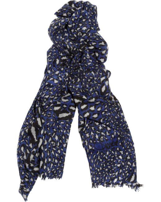 Diane von Furstenberg | Blue Dot Print Scarf With Cashmere | Lyst