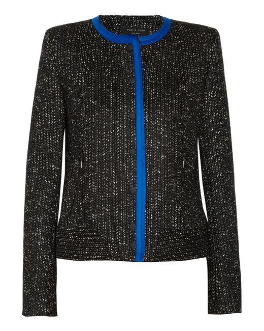 Rag & Bone | Black Harvard Wool and Cottonblend Jacket | Lyst
