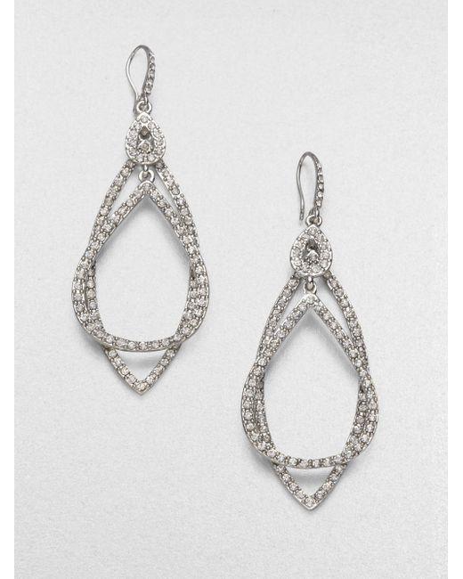 ABS By Allen Schwartz   Metallic Pave Double Loop Earrings   Lyst
