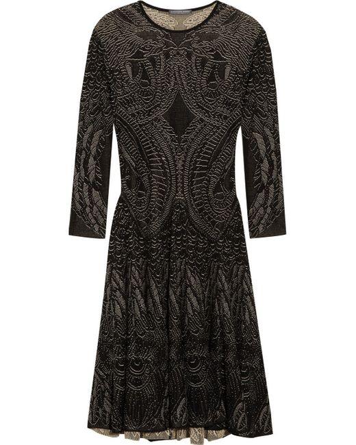 Alexander McQueen   Black Zip-hem Printed Sheath Dress   Lyst