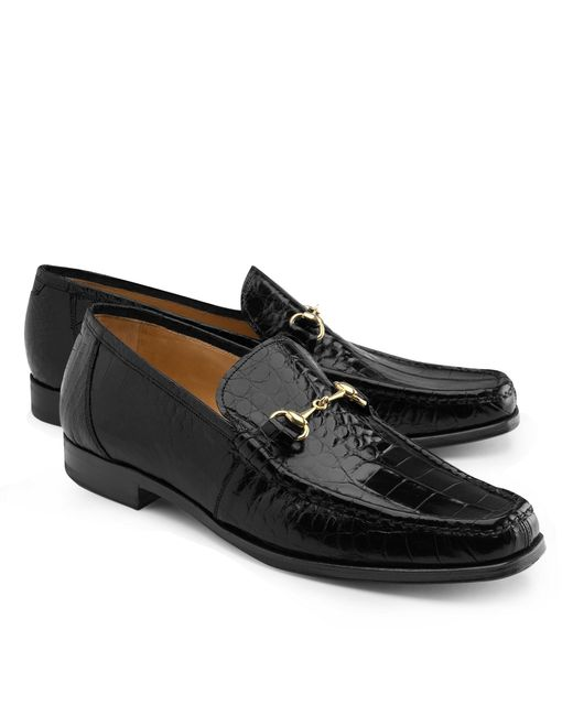 Brooks Brothers | Black Genuine American Alligator Classic Bit Loafers for Men | Lyst