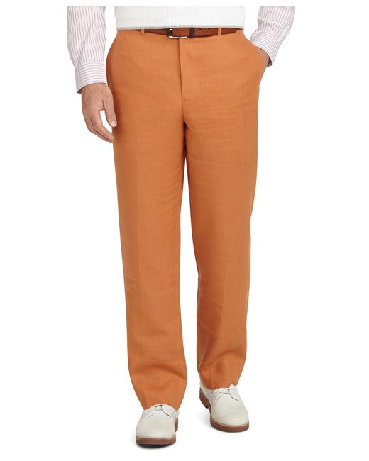 Brooks Brothers | Orange Madison Fit Plain-front Irish Linen Trousers for Men | Lyst