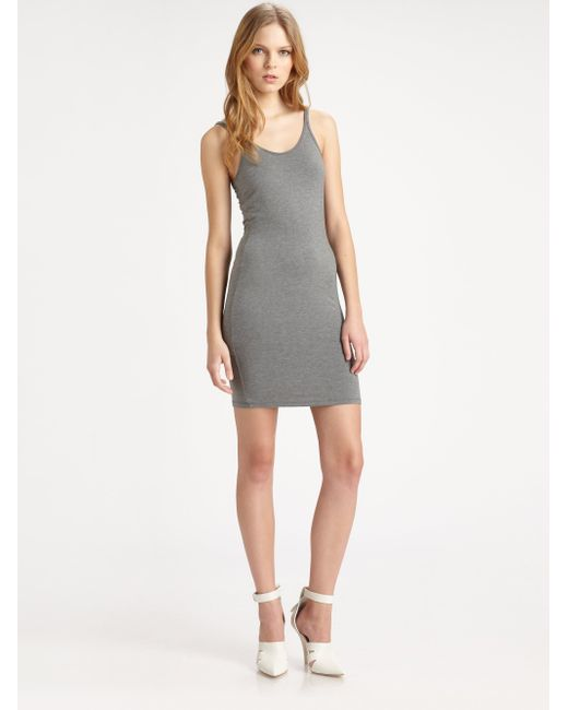 T By Alexander Wang | Gray Stretch-jersey Tank | Lyst