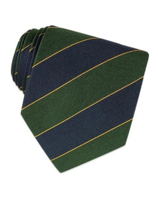 FORZIERI   Navy Blue & Green Bands Woven Silk Tie for Men   Lyst