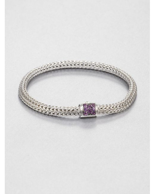 John Hardy | Metallic Classic Chain Amethyst & Sterling Silver Extra-small Bracelet for Men | Lyst