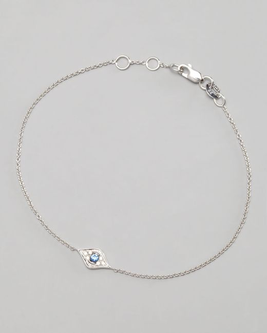 Sydney Evan | Metallic Mini Diamond Evil Eye Bracelet White Gold | Lyst