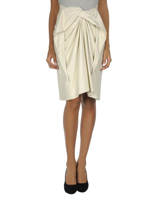 the row leather skirts in beige ivory save 25 lyst