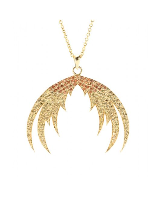 House of Waris | Metallic Plumage Ombré 18kt Yellow Gold Pendant Necklace With Orange Sapphires | Lyst