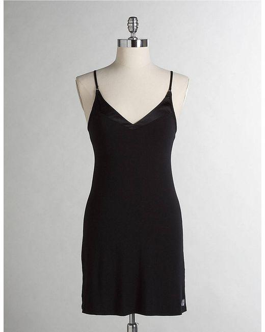 Calvin Klein | Black Essentials Satin Trim V Neck Chemise | Lyst